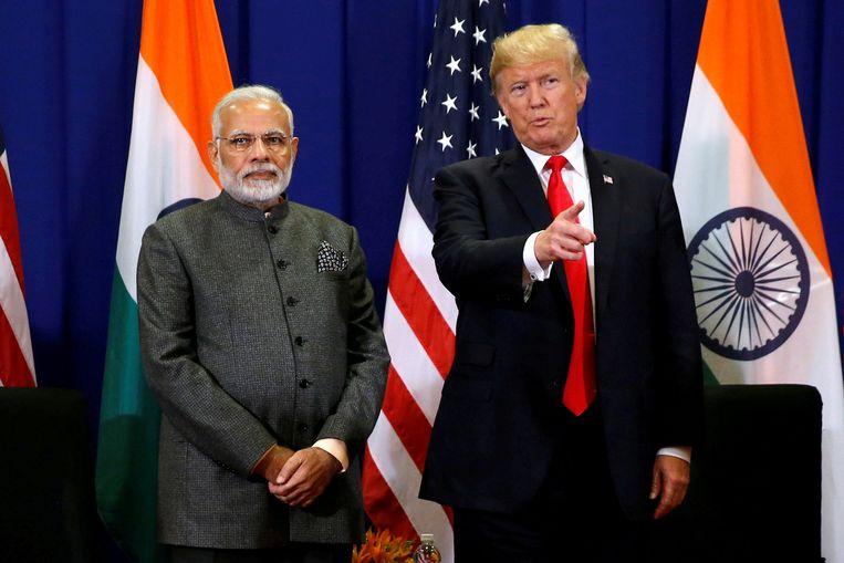 President Trump met de Indiase premier Modi.  Beeld REUTERS