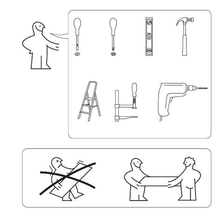 Een screenshot uit de gebruiksaanwijzing voor een PAX-kast. Beeld Ikea