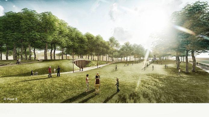 Het parkeerpaviljoen voor de uitgebreide Zandparking wordt verwerkt in het Albertpark.