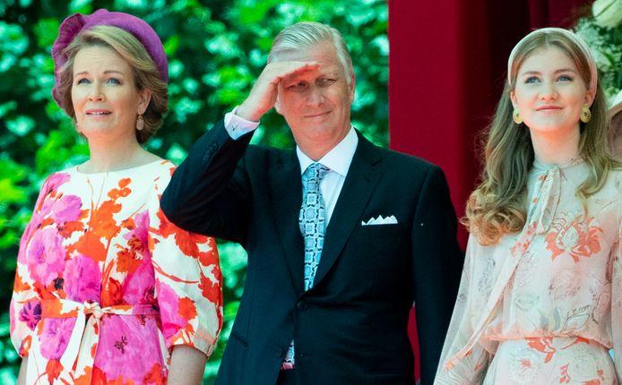 La reine Mathilde, le roi Philippe et la princesse Elisabeth lors de la fête nationale 2020.