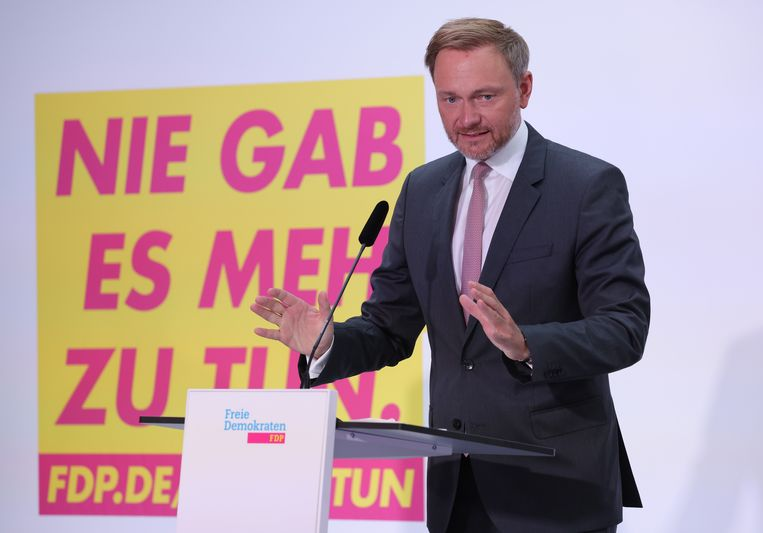 Christian Lindner van de FDP. Beeld Getty Images