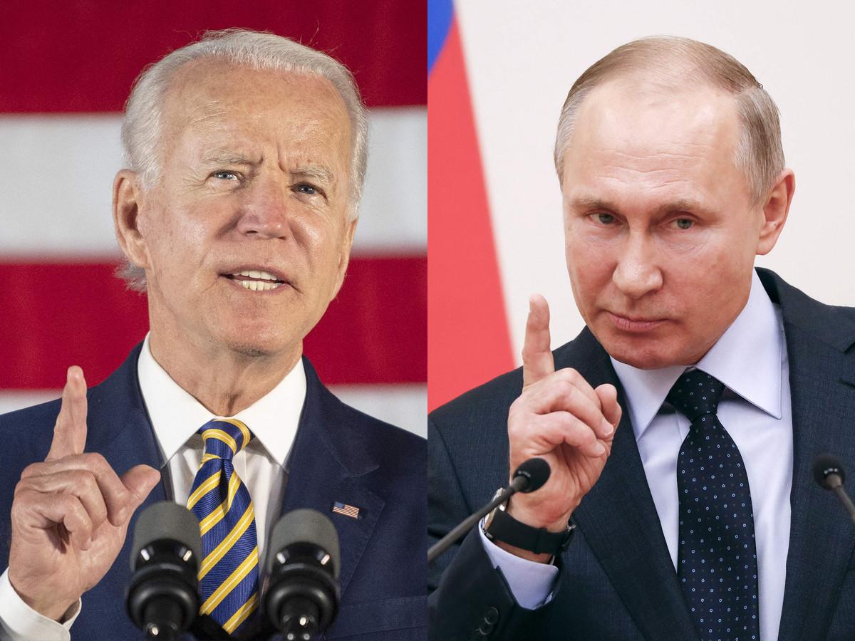 Joe Biden (L) en Vladimir Poetin (R)