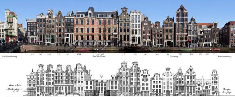 Herengracht. De enigszins oranje gevel is van hotel The Hoxton (nr. 255). Daar zat vroeger een complex van stallen en koetshuizen Beeld Erwin Meijers