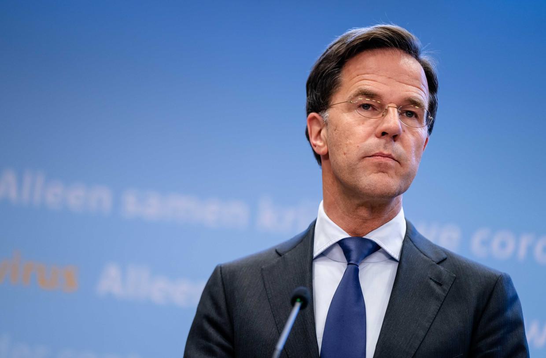 Premier Mark Rutte tijdens een persconferentie over het coronavirus.  Beeld EPA