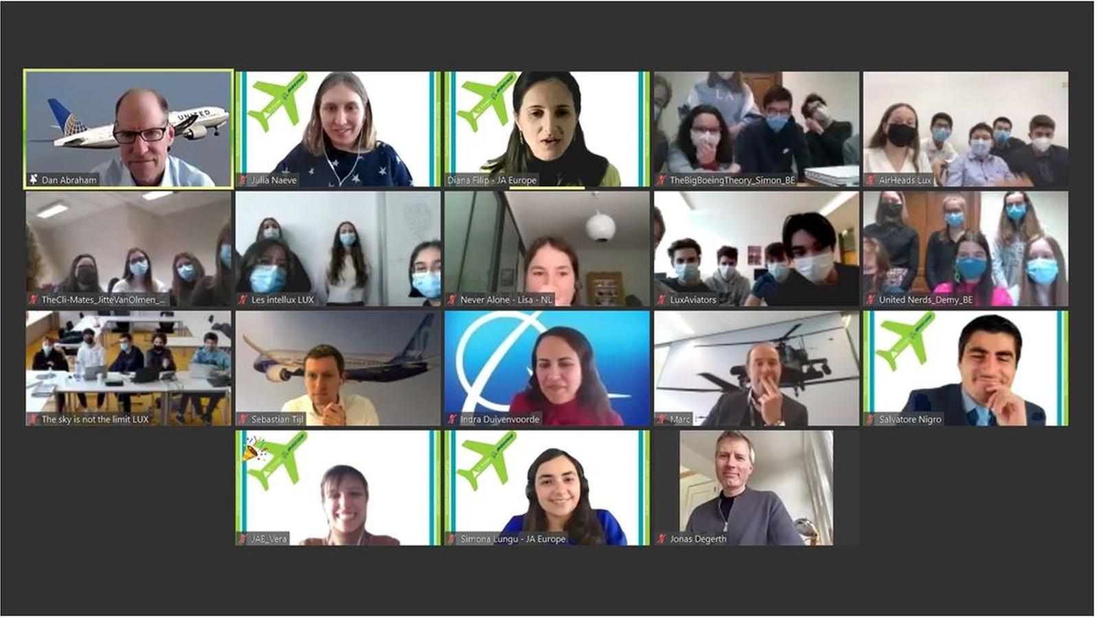 Het team uit Meldert, tweede rechts boven, samen online met de andere teams, medewerkers van Boeing en de professionele jury