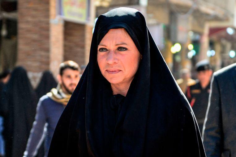 Jeanine Hennis in Najaf, Irak. Beeld AFP