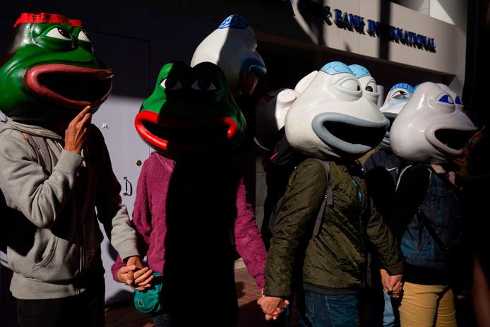 'Pepe the frog'. Het masker van de bekende internetmeme staat symbool voor de strijd van de betogers.
