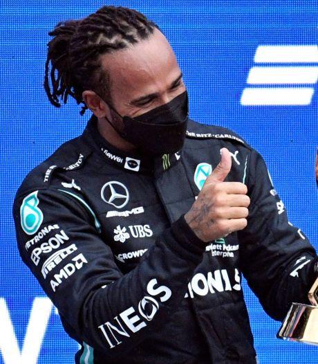 Hamilton had jubileumzege niet meer verwacht: 'Soms valt het toch jouw kant op'