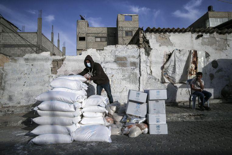 Voedselbedeling in Gaza Beeld AFP