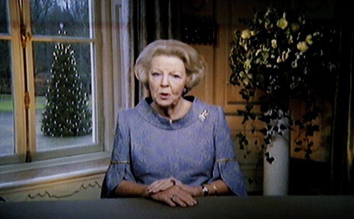 Koningin Beatrix tijdens haar kersttoespraak.
