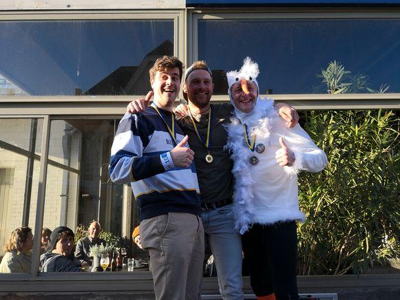 EK meeuwen schreeuwen in De Panne: Jan Heyvaert (2de), Reggy Laatsch (1ste) en Nicolas Baert (3de)