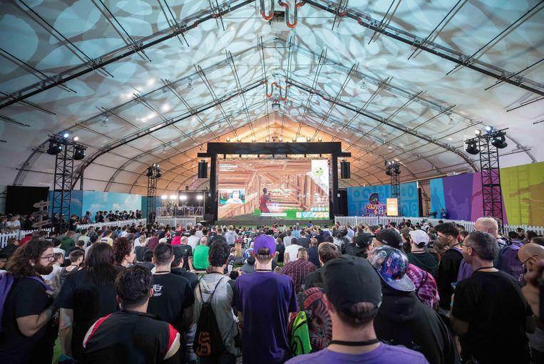 Fans in San José (Californië) voor een grote Fortnite-wedstrijd in oktober 2018.   Beeld Getty Images