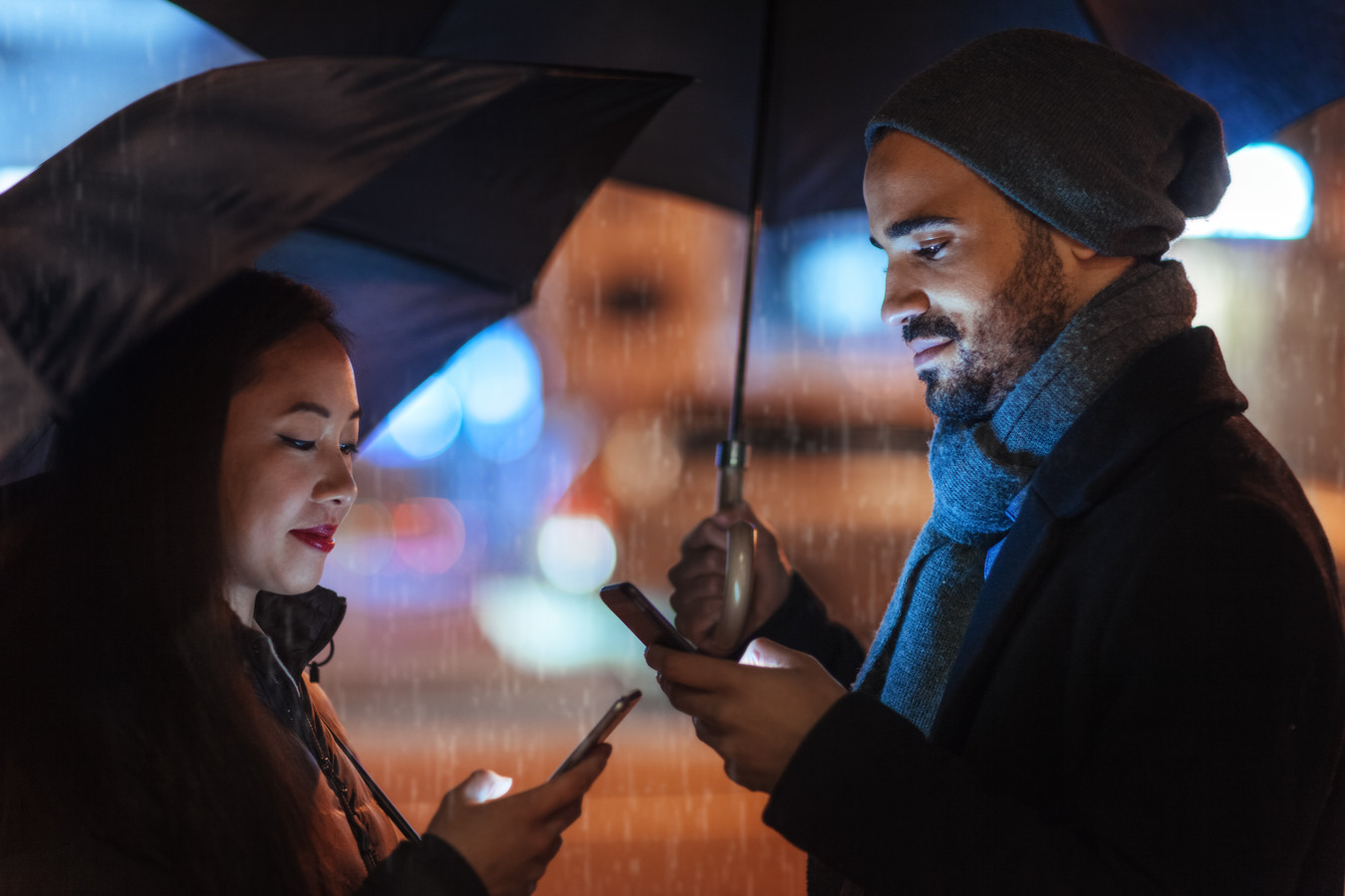 Street portrait of young couples on a rainy day