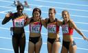 Elodie Ouedraogo, Frauke Penen, Hanna Marien et Olivia Borlée ont pris la 4e place de la 2e série, en 43.82, un chrono qui leur permet d'être repêchées au temps.