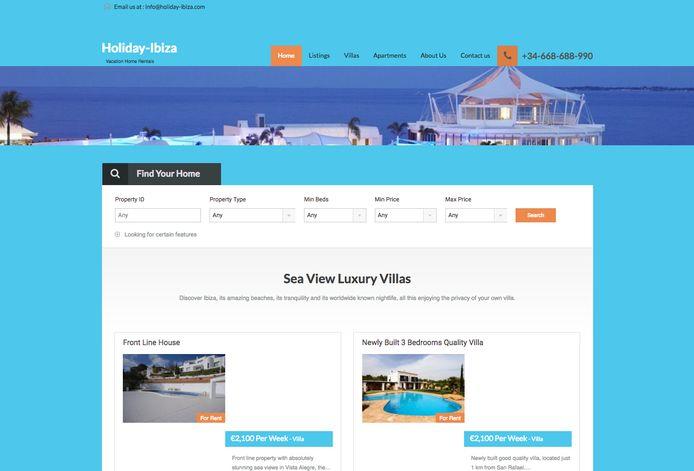De website waar de villa werd aangeboden.