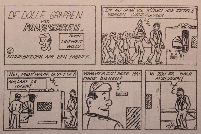 Het stripfiguurtje Prosperken in een van de verhalen.
