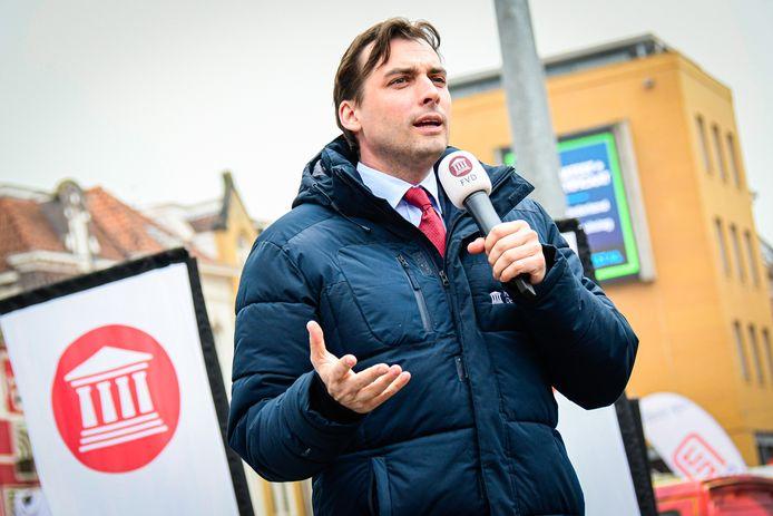 Thierry Baudet, op een campagnebijeenkomst in Groningen.