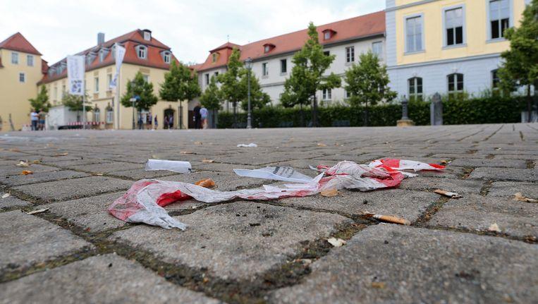 Politielint in het Duitse Ansbach waar een man zichzelf opblies. Beeld EPA