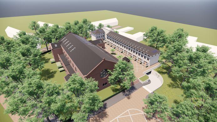 Een impressie van het plan voor de Fatimakerk en omgeving aan het Servaasplein (voorgrond) in Eindhoven. Ontwerp: LA Architecten voor Keizersberg Vastgoed. Omgevingsplan: KruitKok