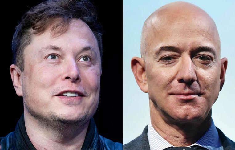Elon Musk en Jeff Bezos. Beeld AFP