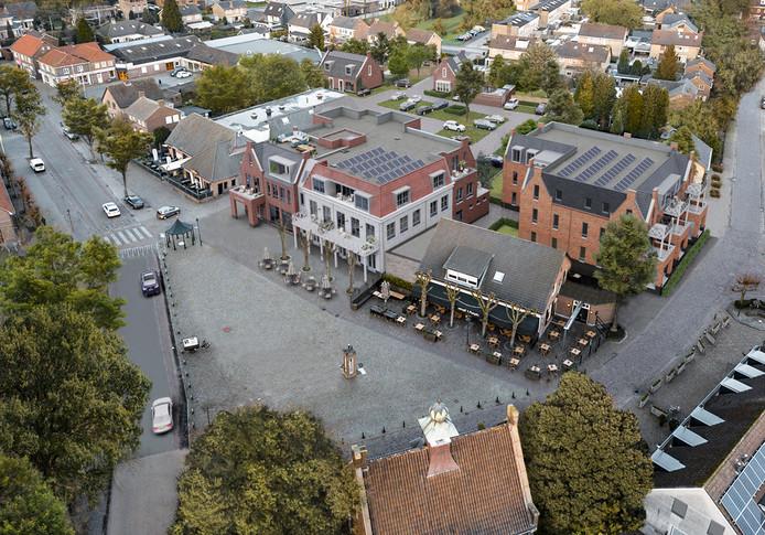 Het bouwplan Brouwplaats in Nistelrode gezien vanuit de lucht. Vooraan met terras 't Pumpke. Daarachter komt een nieuw  complex met huurwoningen. Links naast 't Pumpke  komt een nieuw complex met koopappartementen .