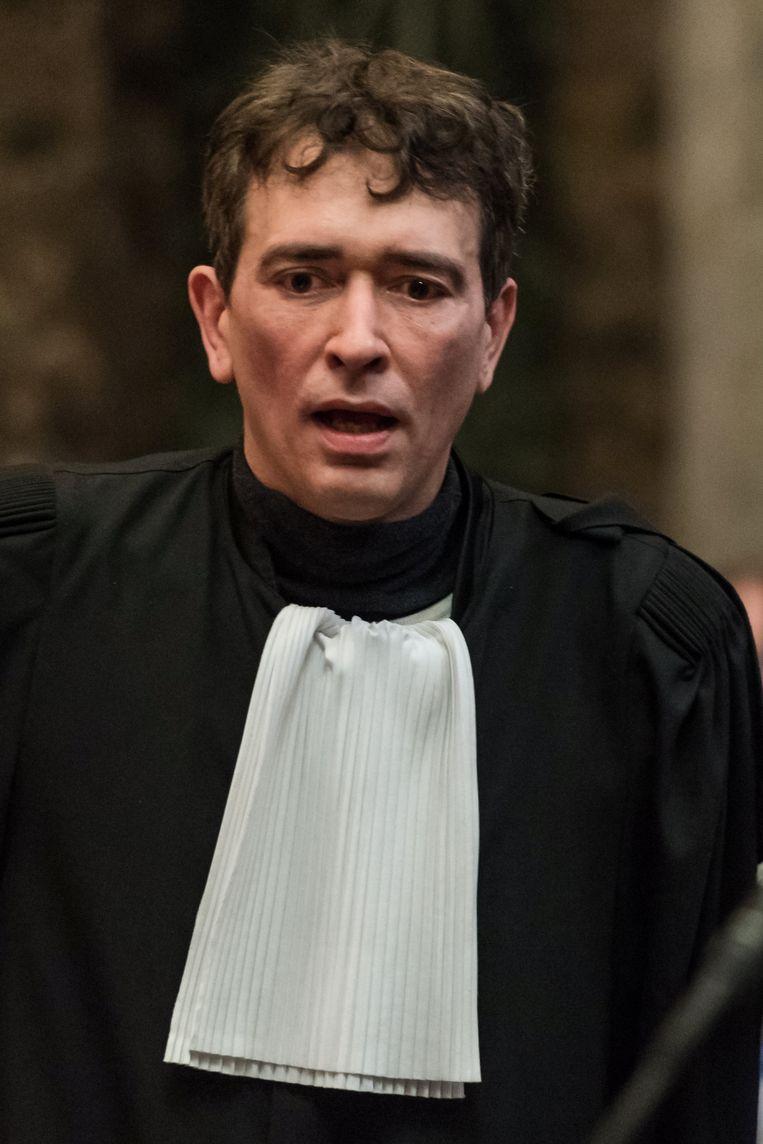 Sébastien Courtoy, advocaat van Mehdi Nemmouche, op het proces over de aanslag op het Joods Museum in Brussel.  Beeld REUTERS