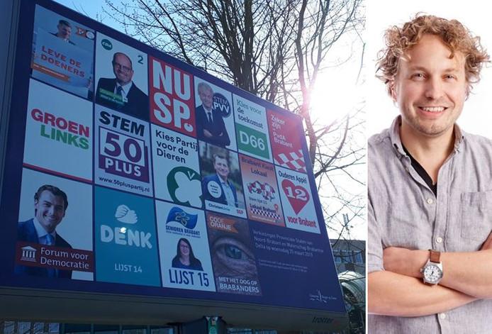 Een verzamelverkiezingsbord in Bergen op Zoom; een feest voor partijen met een luie achterban, schetst columnist Niels Herijgens. (Met helemaal linksboven het kabouterkleine logo van de VVD.)