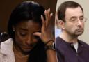 Simone Biles gaf een emotioneel pleidooi over het seksueel misbruik van ex-ploegarts Larry Nassar (R).