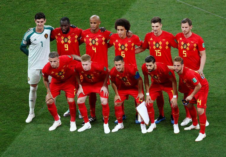 De Belgische ploeg tegen Japan. Beeld REUTERS