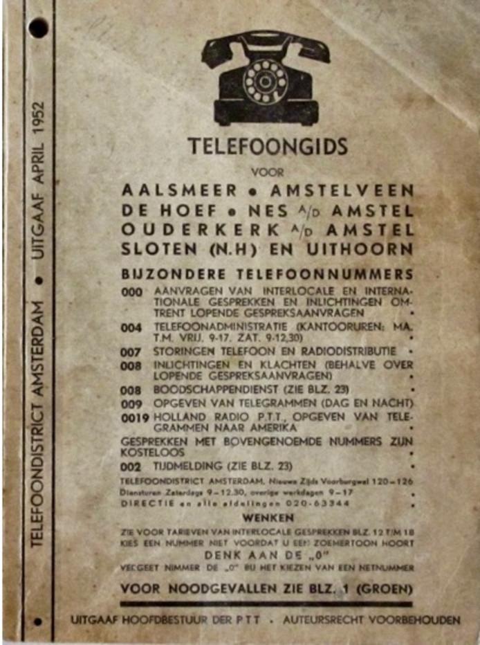 Telefoongids uit 1952.