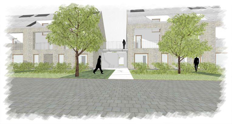 SHM Denderstreek wil in de Bavokouter in Mere 16 sociale verhuurappartementen voor alleenstaanden en alleenstaanden met een kind bouwen.