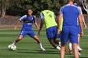 Eden Hazard op zijn eerste training bij Chelsea na het WK.