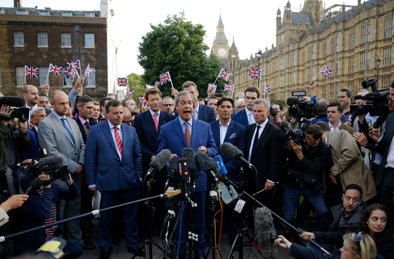 Nigel Farage in 2016. De man die het brexitreferendum afdwong is niet langer leider van Reform UK, de opvolger van UKIP en The Brexit Party. Beeld AP