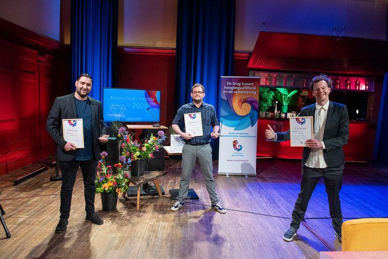 V.l.n.r: winnaars Abdelhamid Idrissi, Diederik Jekel en Jim Jansen.  Beeld George Maass