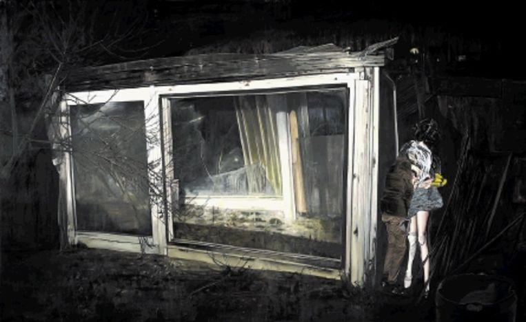 Léopold Rabus: 'Mensen achter een plantenkas', 2009, 270 x 440 cm. (Trouw) Beeld