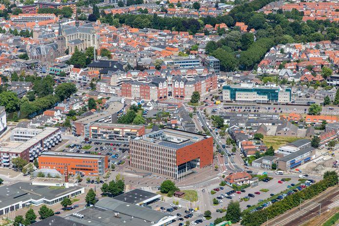 Het centrum van Goes, gezien vanuit de lucht.