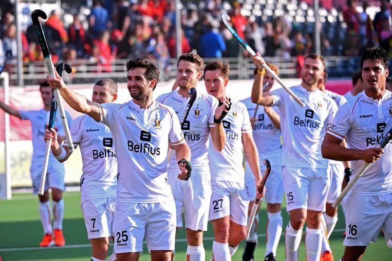 De Red Lions kunnen al juichen voor de match tegen Wales.  Beeld Photo News