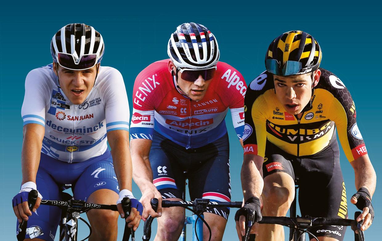 Jong geweld op twee wielen: Remco Evenepoel (21 jaar), Mathieu van der Poel (26) en Wout van Aert (26). Beeld DM