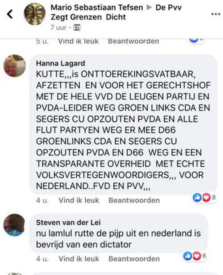 Berichten uit de Facebook-groep De pvv Zegt Grenzen  Dicht Beeld Facebook