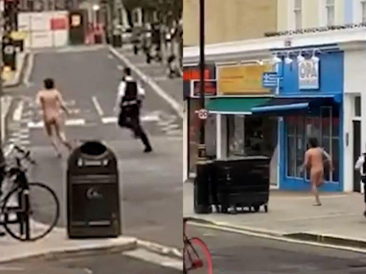 Naakte man slaat op de vlucht voor politie