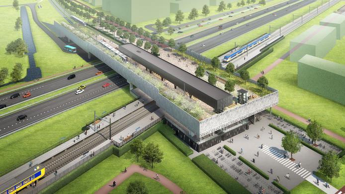 Toekomstbeeld van de Randstadrail-halte Bleizo met daaronder station Lansingerland-Zoetermeer.