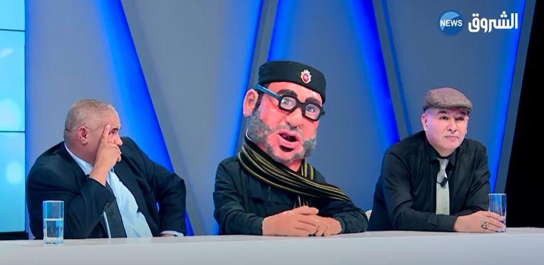 De persiflage van de Marokkaanse koning op Algerijnse televisie zorgt voor veel ophef in Marokko.  Beeld Youtube Shorouk News