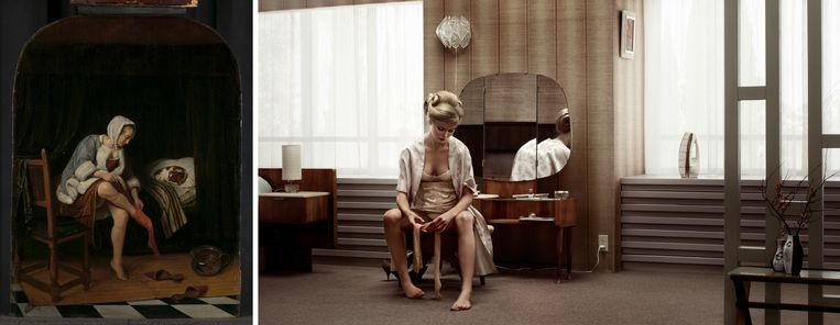 Jan Steens 'Het toilet' en Erwin Olafs 'Grief, Barbara'. Beeld Rijksmuseum