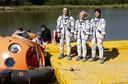 Anatoli Ivanisjin, Kathleen Rubins en Takuya Onishi, tijdens de training voor hun verblijf op ISS.