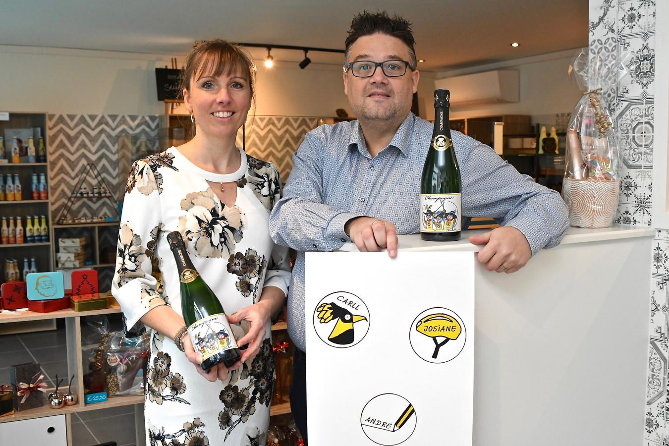 Zaakvoerster Kim Desmet en haar echtgenoot Sonny Ghesquière van Chicolat verkopen een exclusieve champagne.