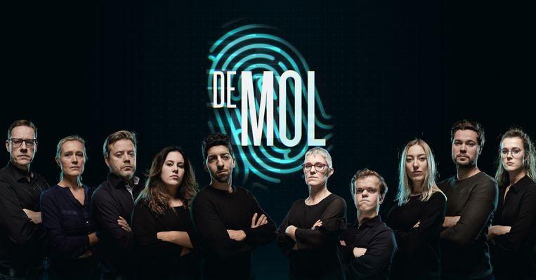 De 10 kandidaten van 'De mol' 2020. Van links naar rechts: Bruno, Laure, Bart, Dorien, Salim, Els, Christian, Alina, Gilles, Jolien. Beeld VIER