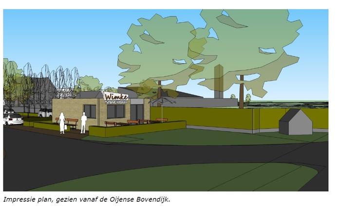 Impressie van het toekomstige onderkomen van snackbar Wimke in Oijen.