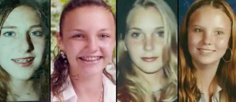 Vier van de minderjarige meisjes die door Epstein zijn geronseld en misbruikt. Beeld -