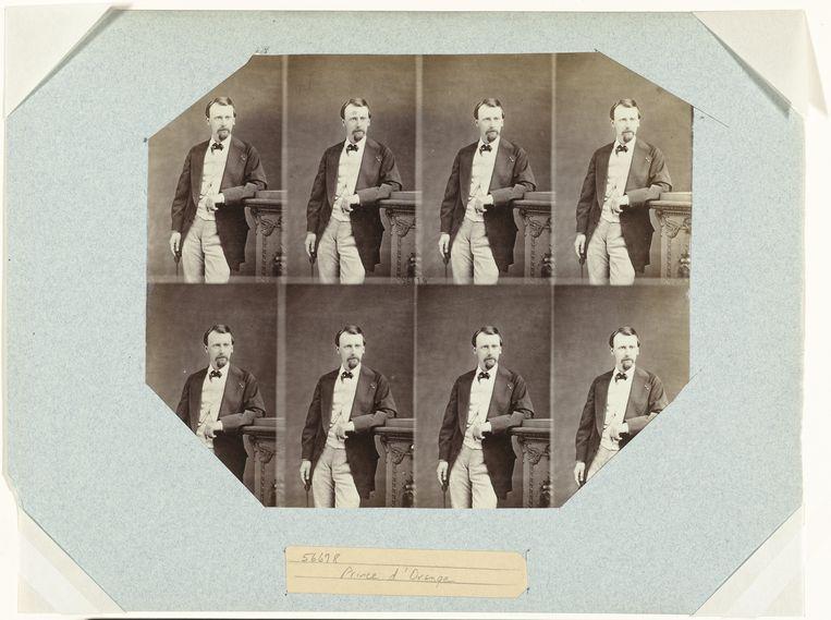 Vel met portretten van kroonprins Wilwill, André-Adolphe-Eugène Disdéri, (1859). Onder: Sequentie van vormen van de mond bij het uitspreken van 'Je vous aime', M.G. Demeny, (ca. 1881). Beeld TRBEELD