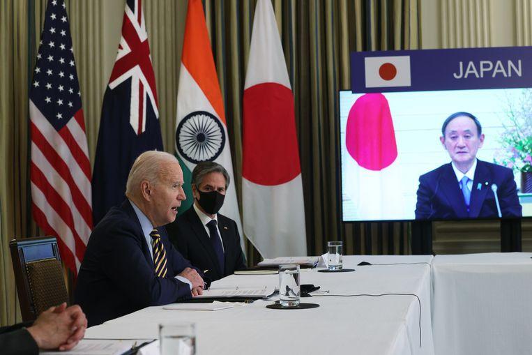 De Amerikaanse president Joe Biden heeft een virtueel overleg met de drie bondgenoten. Beeld Getty Images